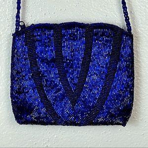 Vintage Colbalt Blue Glass Beaded Purse